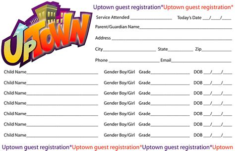 church volunteer info registration card template registration card uptown childrens ministry