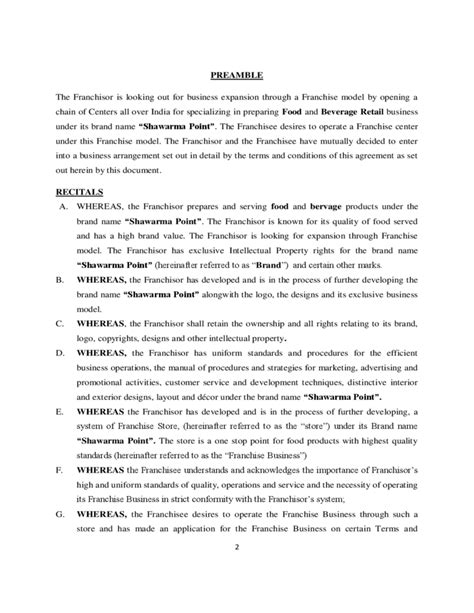Franchise Agreement Sle Template Free Download Franchise Agreement Template Free