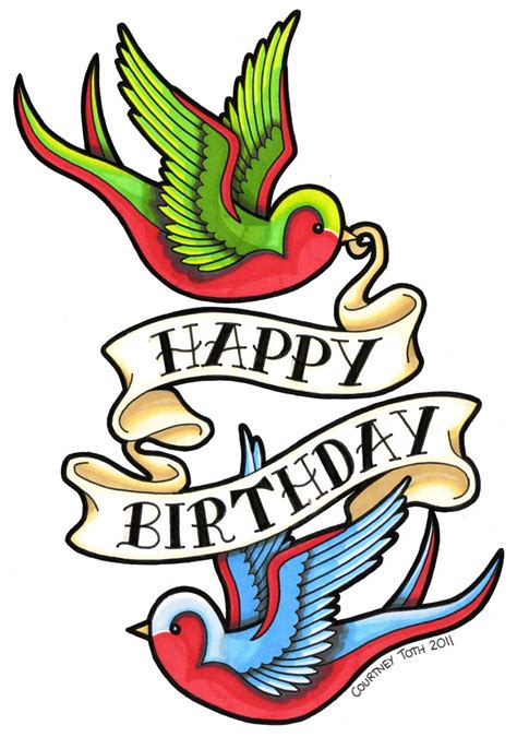 tattoo girl happy birthday swallows birthday card by metal petey flower on deviantart
