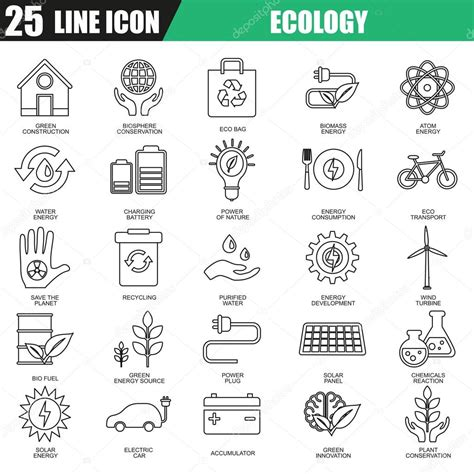 Thin Line Set Of 2 Thin Line Icons Set Of Ecological Energy Source Environmental Safety Modern Flat Linear