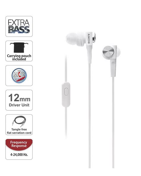 In Ear Headphone With Mic White sony mdr xb50ap in ear bass headphones with mic