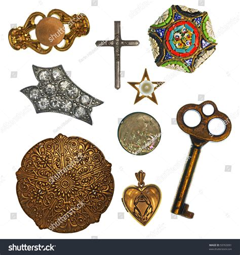 trinkets and collage antique jewelry trinkets design element stock