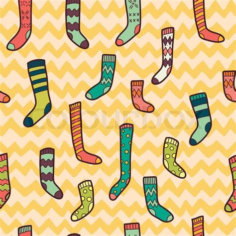 sock background seamless pattern with different doodle socks on