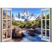 Huge 3D Window View Enchanted River Mountain Wall Sticker
