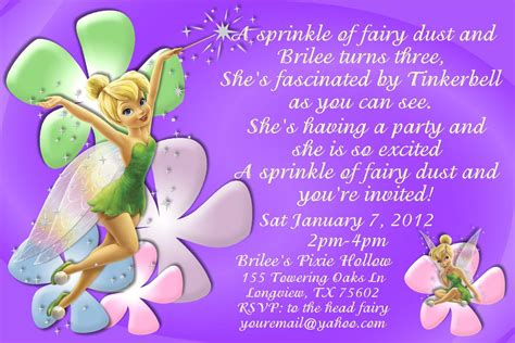 tinkerbell birthday card template images