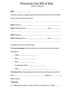 boat bill of sale wisconsin gun bill of sale forms and templates fillable forms
