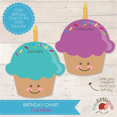 cupcake birthday chart template cupcake birthday chart for child educators by