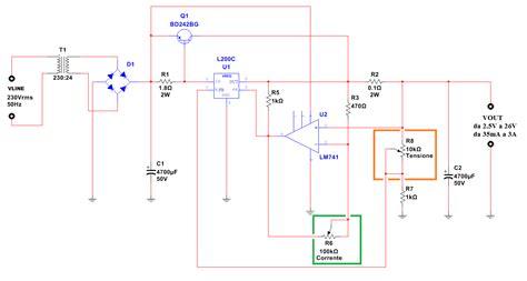 alimentatore di corrente alimentatore a tensione e corrente regolabile ne555