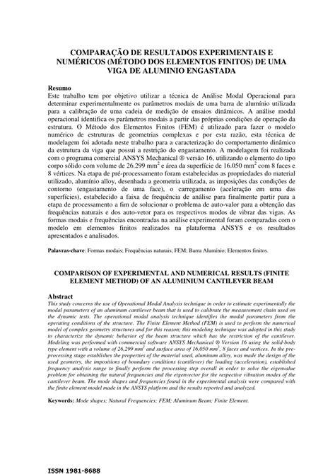 (PDF) COMPARAÇÃO DE RESULTADOS EXPERIMENTAIS E NUMÉRICOS