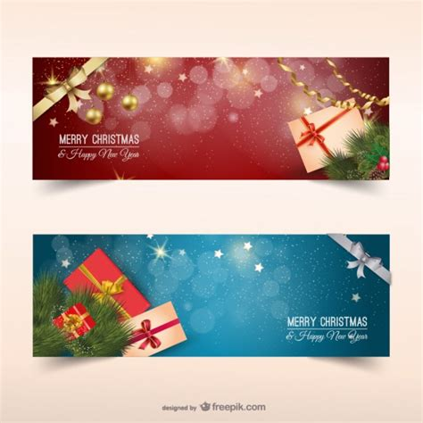 images of christmas banners christmas banners with presents vector free download