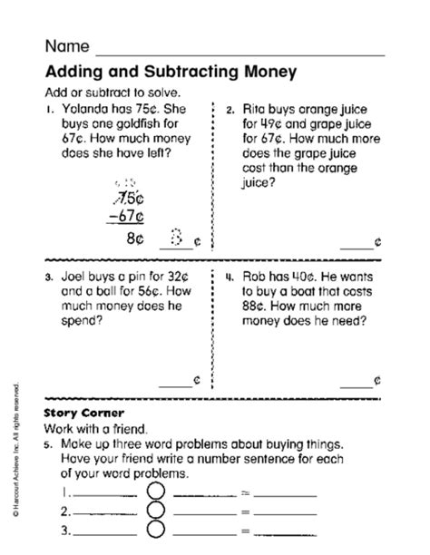 subtracting money worksheet adding subtracting decimals money worksheets adding and
