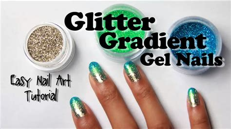 nail art tutorial how to create a glitter gradient using glitter gradient gel nails with loose glitter easy nail