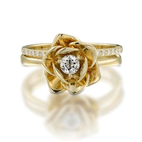 design flower ring 14k yellow gold ring floral flower shape ring diamond