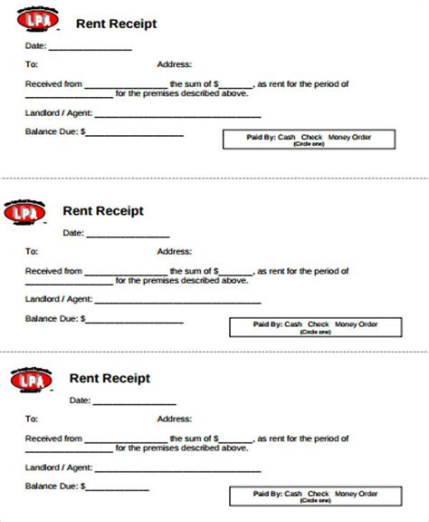 blank rent receipt template 6 blank rent receipt sles sle templates