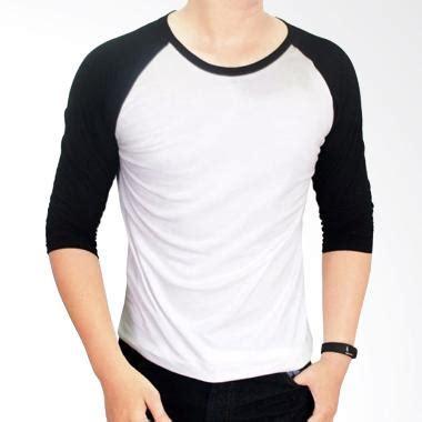 Kaos Polos Cotton Combad 20s Putih Size S jual gudang fashion kaos polos pol 26 cotton combed 20s putih kombinasi hitam raglan