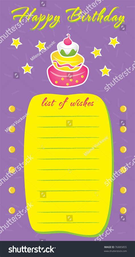 birthday wish list template birthday wish list template www pixshark images