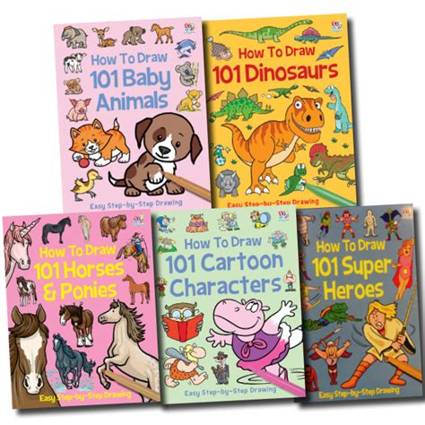 Drawing 101 Book by How To Draw 101 Collection 5 Books Set Dinosaurs Baby
