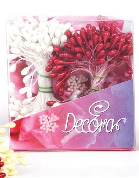 pistilli per fiori finti pistilli per fiori bianco perla e rosso