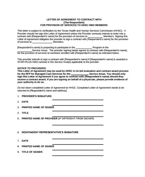 sample letter intent contract templates