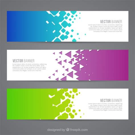 download design header footer colored abstract banners vector free download