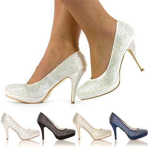 NEW LADIES DIAMANTE HIGH HEELS BRIDAL PROM EVENING PARTY