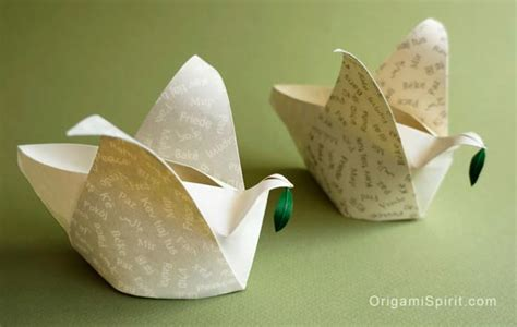 Origami Lantern Box - peace dove how to make an origami container in the shape