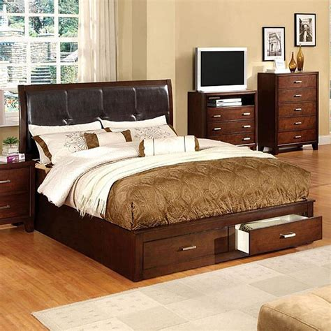 King Platform Bed With Storage by Shop Furniture Of America Enrico Brown Cherry King