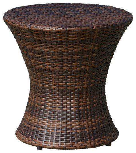 wicker accent table townsgate outdoor brown wicker hourglass accent table