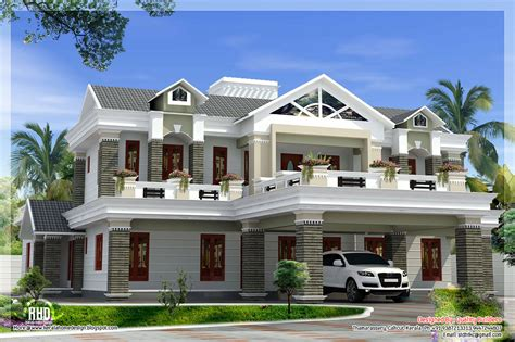 Luxurious Home Plans | sloping roof mix luxury home design kerala home design