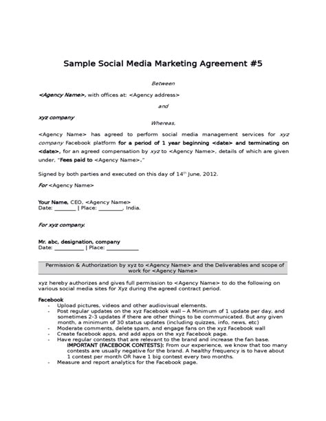 marketing partnership agreement template sle social media marketing agreement free