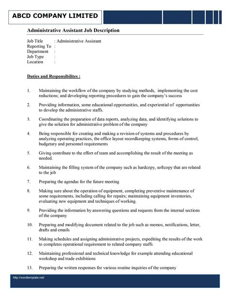 Admin Job Profile Resume by Administrative Assistant Job Description Template Free