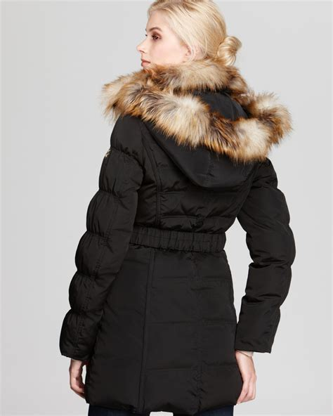 Quilted Fur Coat by Laundry By Shelli Segal Quilted Belted Coat With Faux Fur