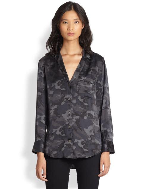 Keyra Blouse Grey equipment keira camo blouse lace henley blouse