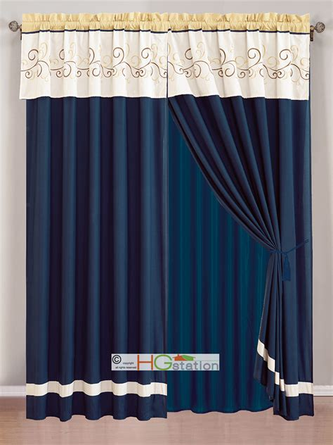 yellow and navy curtains 4 pc floral scroll embroidery curtain set ivory navy