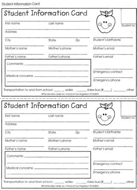school emergency contact card template student information card lovetoteach org free
