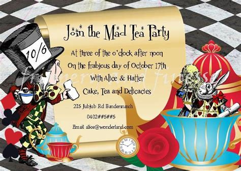 mad hatter tea invitations templates mad hatter tea quotes quotesgram