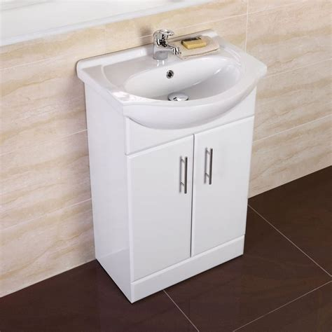 White Small Compact Basin Vanity Unit Bathroom Cloakroom Small White Bathroom Vanity