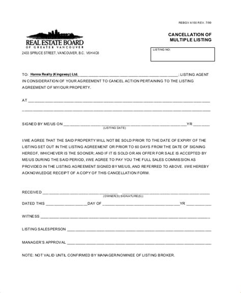 format cancellation sale agreement sle cancellation of contract forms 8 free documents