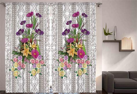 Home Decor Window Treatments colorful flower bouquet curtains 2 panel set satin home