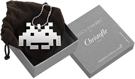 Tags Bling For Nerds by Christofle Silver Space Invader Fashion Accessory Ohgizmo