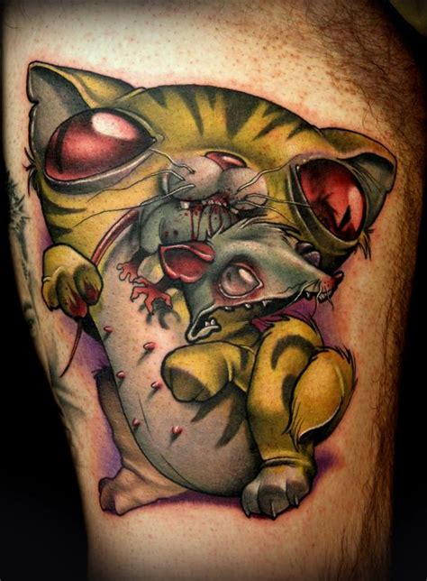 cartoon realism tattoo cat nipples tattoo by kelly doty tattoonow