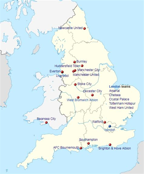 map of premier league teams where are all 20 premier league teams located prosoccertalk
