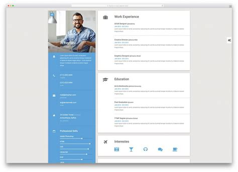 the best resume templates 15 best html5 vcard and resume templates for your personal