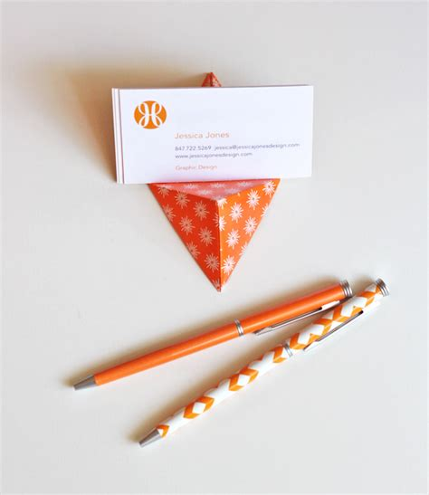 Origami Business - easy origami business card stand how about orange
