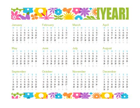 any year calendar template any year calendar calendar templates free