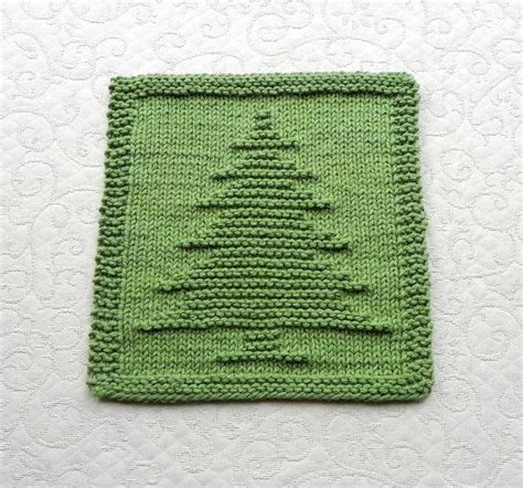knit dishcloth christmas tree hand knitted unique design
