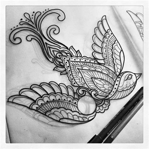 henna tattoo designs bird best 25 paisley bird tattoos ideas on black