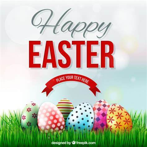 easter images free easter card with decorated eggs on the grass vector free