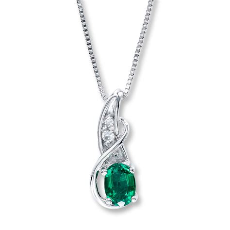 lab created emerald necklace sterling silver
