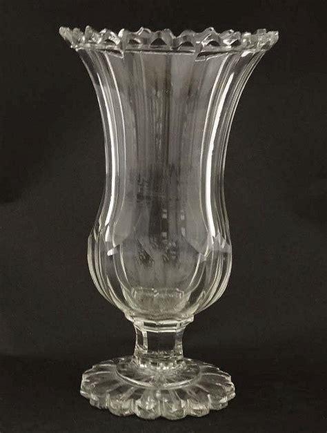 Glass Pedestal Vase A Cut Glass Pedestal Vase 10 3 4 High